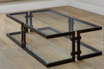 F258 - Bronzed steel cantilever coffee table