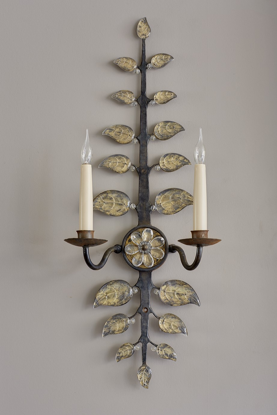 Wall appliques with clear glass leaves.