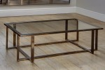 Bronzed brass cross framed coffee table