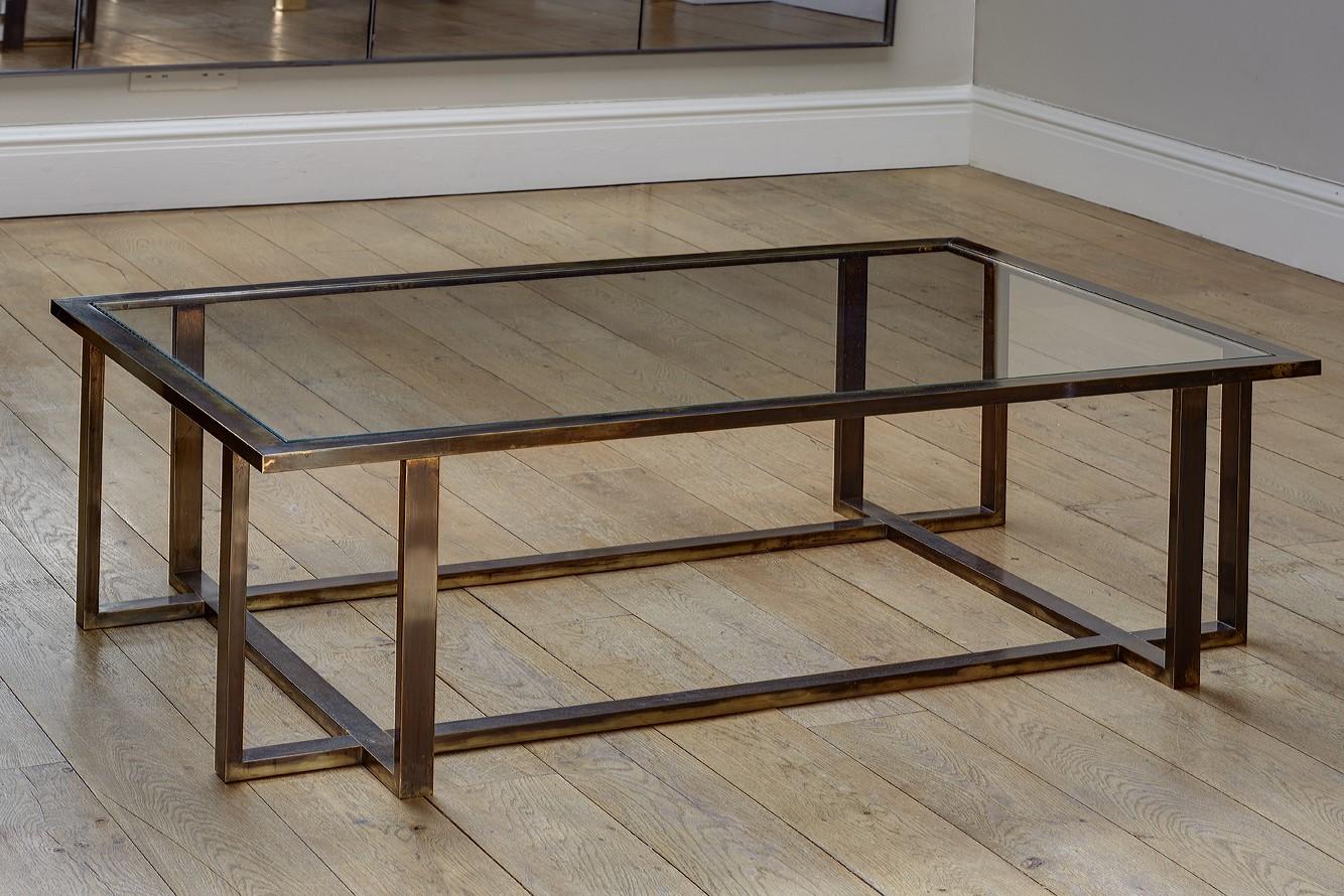 Bronzed brass cross framed coffee table