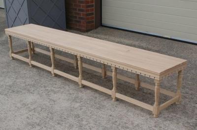 Large Lutyens style oak garden bench