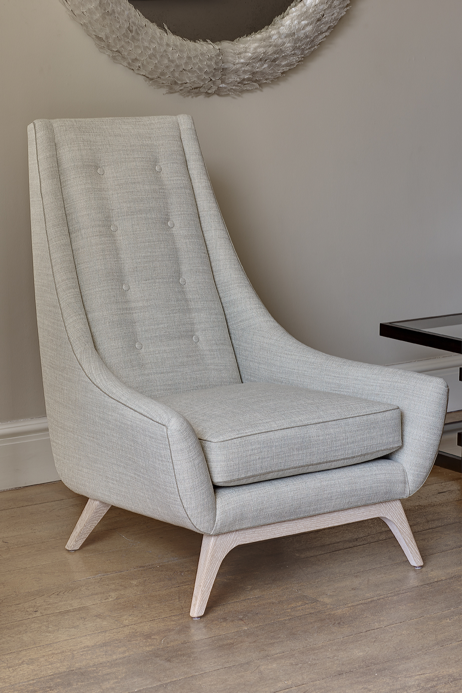 Carlyle armchair with limed oak  legs