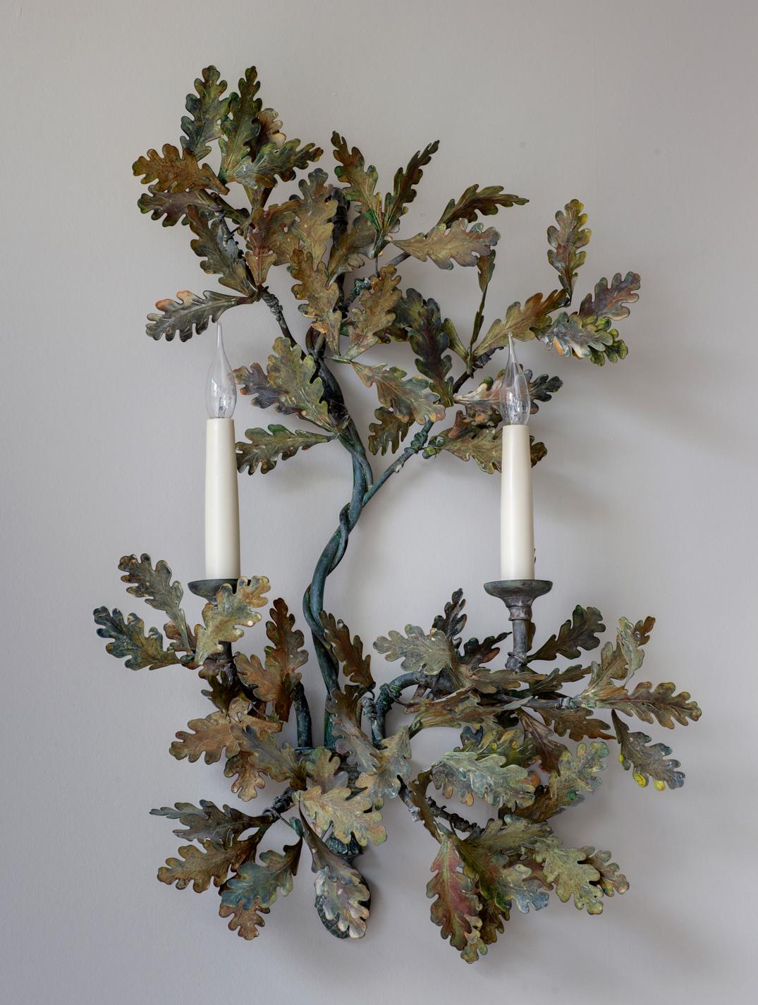 Two arm oak leaf wall light.