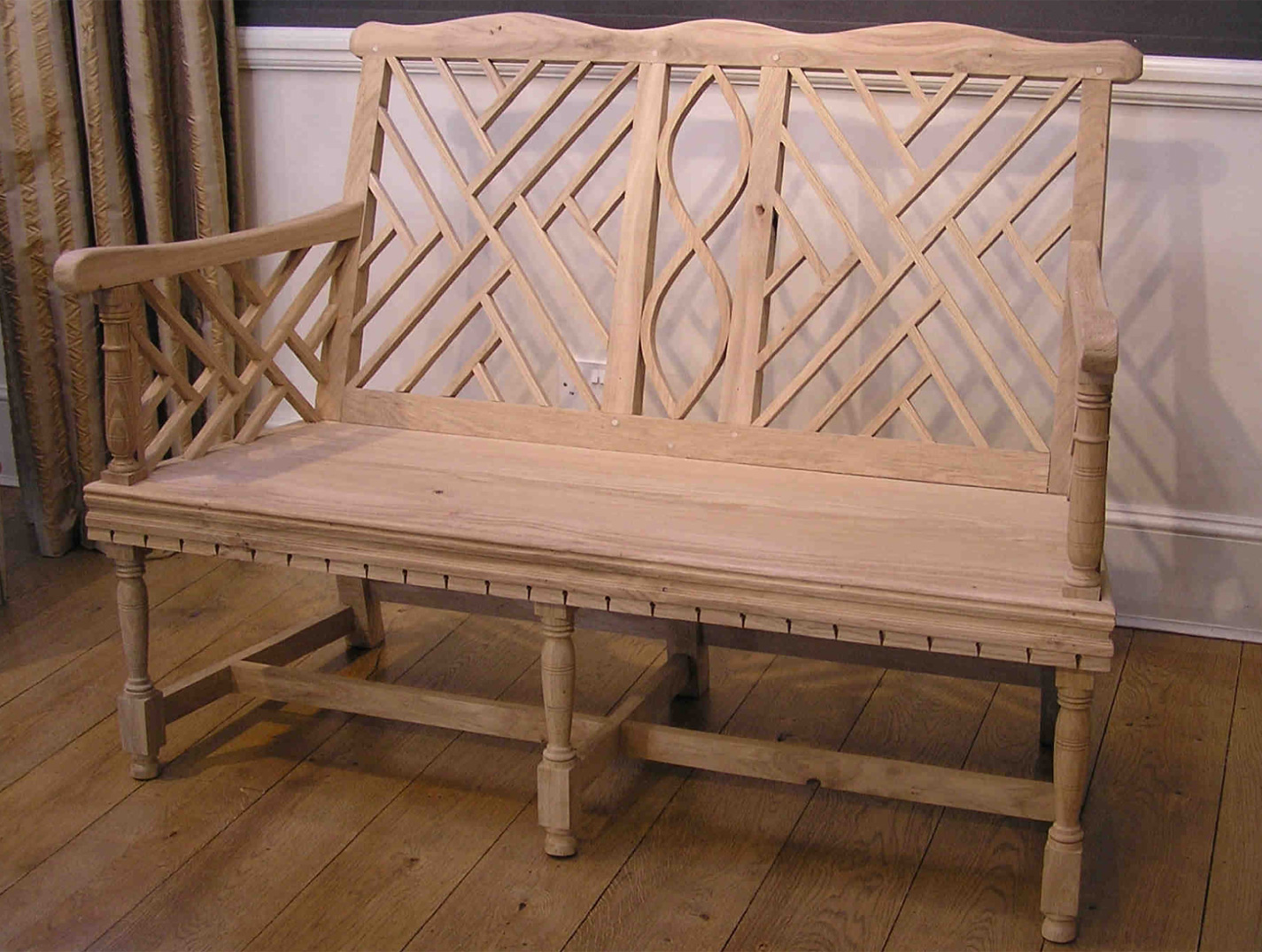 Lutyens style two seater garden bench.
