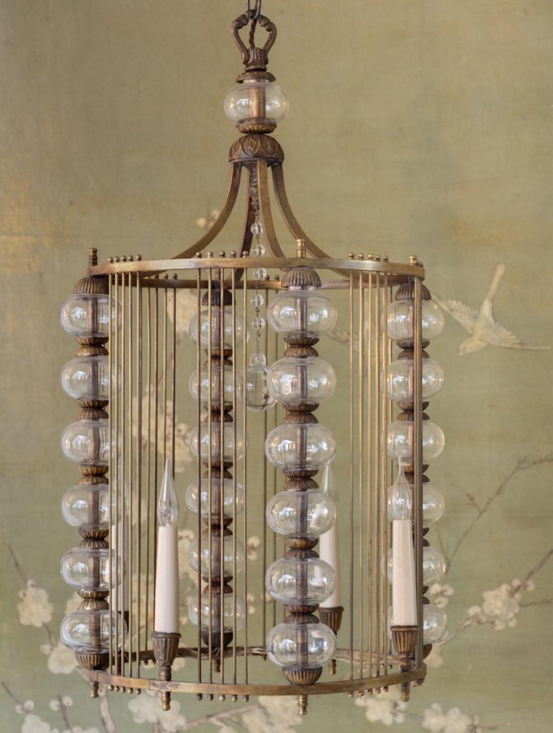 Spanish brass and glass hanging lantern.