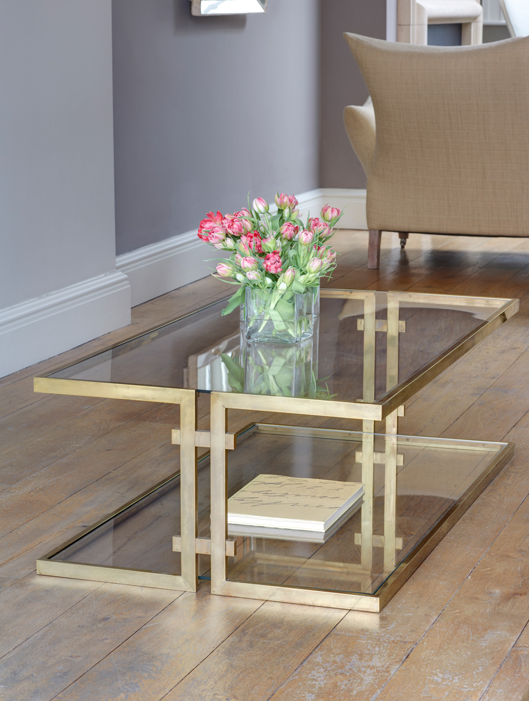 Cantilevered coffee table.